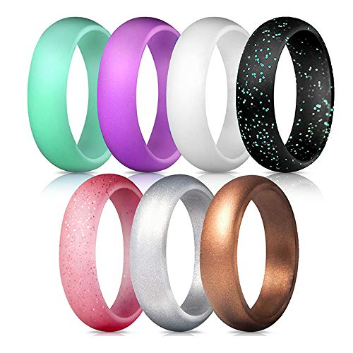 - NNIOV Silicone Rings, Stackable Wedding Bands for Women, Geometric Braided Thin Wide Glitters Metallic Rubber Rings, Simple Comfortable Skin Safe (7 Packs 5.7mm Wide Style, 8.5-9(18.9mm))