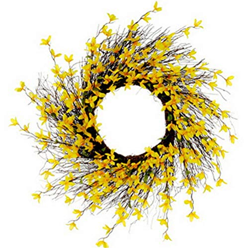 Light Yellow Forsythia Wreath - Mikash 24 Silk Forsythia Flower Hanging Wreath -Yellow (Pack of 6) | Model WRTH - 181