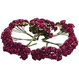 Gleader 144 pz Mini fiori carta rosa di nozze per bomboniera artigianale (Rosso)