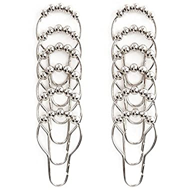 Kingdoo 100% Stainless Steel Shower Curtain Hooks Rolling Beads Bathroom Glide Rings Set of 12 Rings