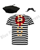 French man fancy dress costume black white striped top for French striped shirt and beret