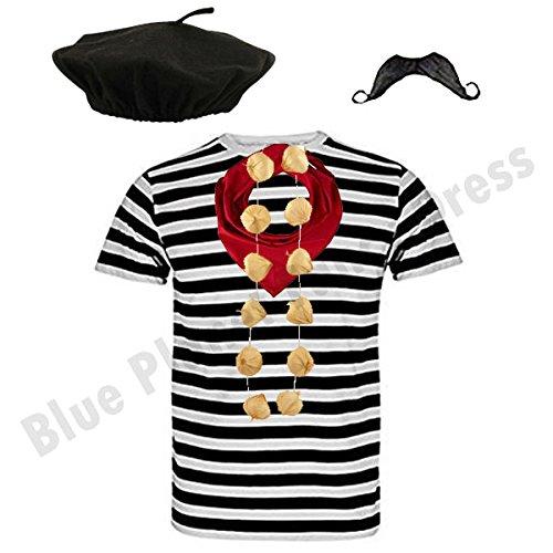 MENS FRENCH MAN fancy dress costume TShirt Beret Moustache Neckerchief outfit