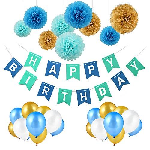 Pomisty Decoración Cumpleaños, Decoraciones Fiesta de Cumpleaños 40 Packs con 1 Happy Birthday Bandera +30 Pack Globos Perlados + 9 Pack Tissue Pom ...