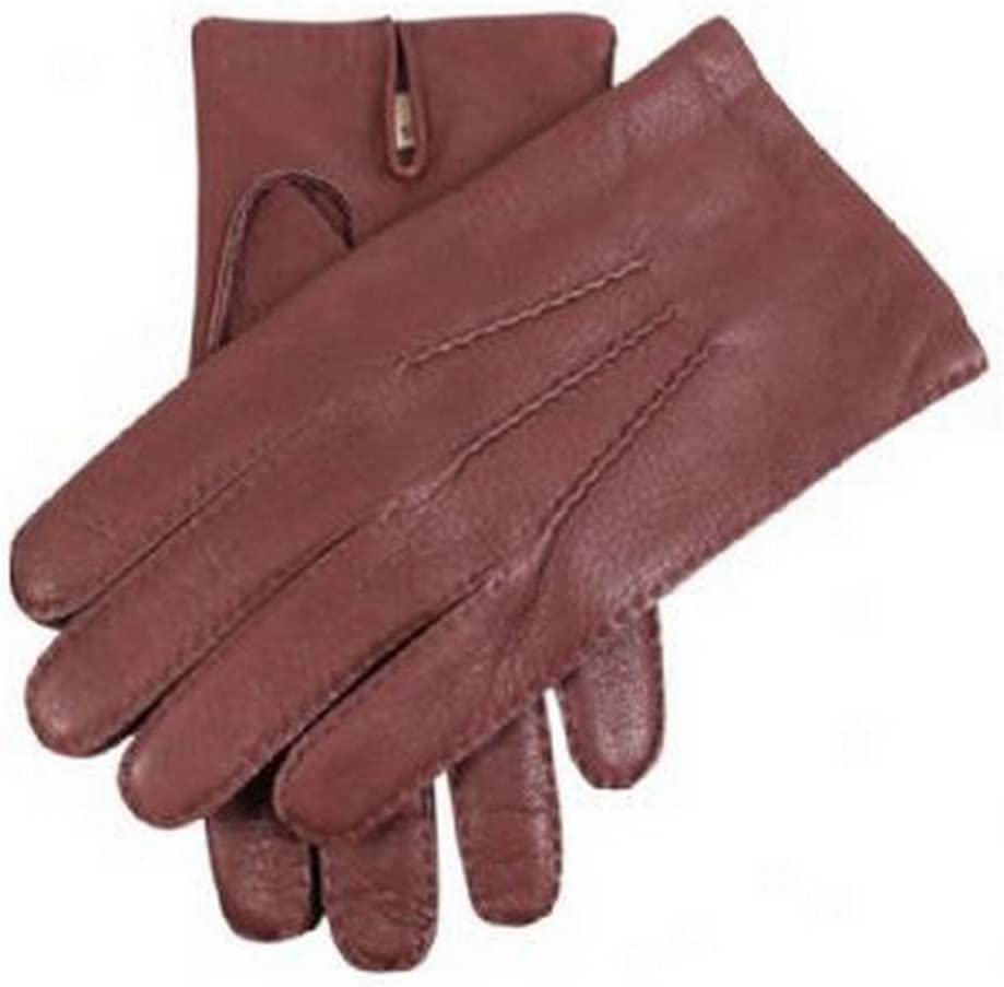 Brown Small Dents Mens Bark Deerskin Leather Gloves
