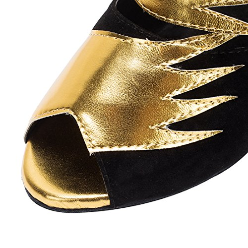 de mujer Heel Black para tacón de noche alto 8cm Gold con hebilla Sandalias Miyoopark HOq5IwxS5