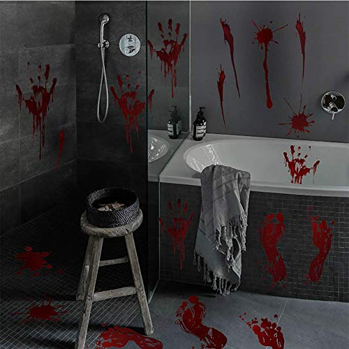 (DegGod Bloody Halloween Window Stickers, 6 Sheets Footprints and Handprint Wall Floor Clings for Horror Haunted House Vampire Zombie Party Decorations (3)