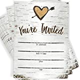 Birch Tree Bark Fill-in Party Invitations Envelopes | Set of 25 Rustic Country Invites | All Occasions - Bridal Shower, Baby Shower, Rehearsal Dinner, Birthday Party, & Anniversary