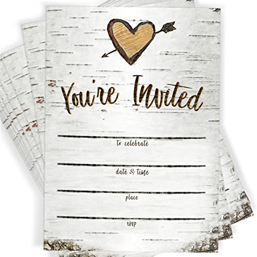 Birch Tree Bark Fill-in Party Invitations and Envelopes | Set of 25 Rustic Country Invites | All Occasions - Bridal Shower, Baby Shower, Rehearsal Dinner, Birthday Party, & Anniversary -