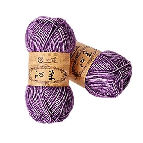 2 Skeins Hand Knitting Cotton Yarn Baby Thread Crochet Cotton Warm Baby DK Line,Purple and White