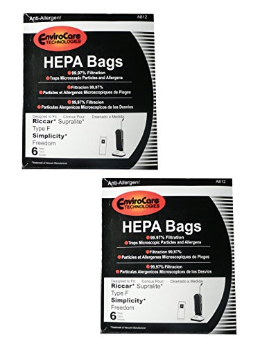 (12 Riccar HEPA Type F Vacuum Bags, Simplicity, Freedom, Supralite, Canister Vacuum Cleaners, RSLH-6, SF-6, RSL1, RSL1A, RSL1AC, RSL3C, RSL2, RSL3, RSL4, RSL5, RSL5C, SLPLUS, RFH-6, F3500)