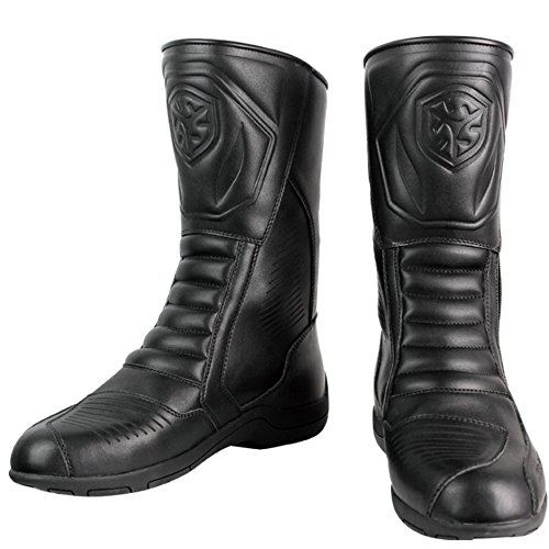 Men's Motorcycle Side-Zip Boots (Black, Size 12)