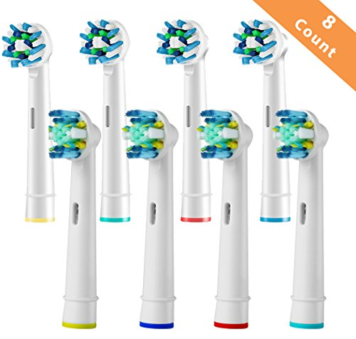 Toothbrush Replacement Heads Refill for Braun Oral-B Electric Toothbrush Pro 1000 Pro 3000 Pro 5000 Pro 7000 Vitality Floss Action + Cross Action 8 Pcs
