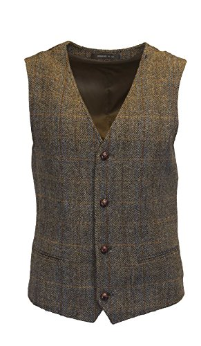 Walker & Hawkes - Mens Classic Scottish Harris Tweed Herringbone Overcheck Country Waistcoat Vest - Clinton Brown - 44 ()