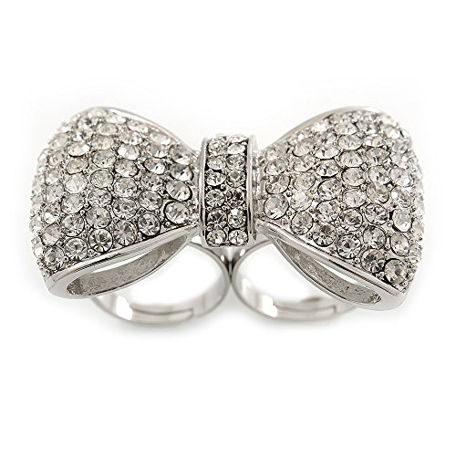 (Large Clear Austrian Crystal Pave Set 'Bow' Two Finger Ring In Rhodium Plating - 50mm Across - Adjustable)