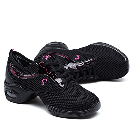 Vilocy De Femmes Trainer Split Dance Chaussures Danse Sole Noir Sneakers rrRZqHB