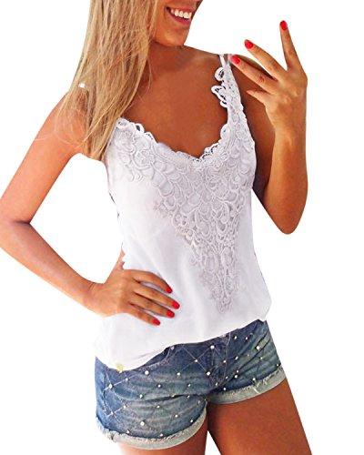 ZANZEA Women's Sexy Sleeveless Lace Croched Tank Tops T Shirt Blouse Camis Vest White XXL=US 14