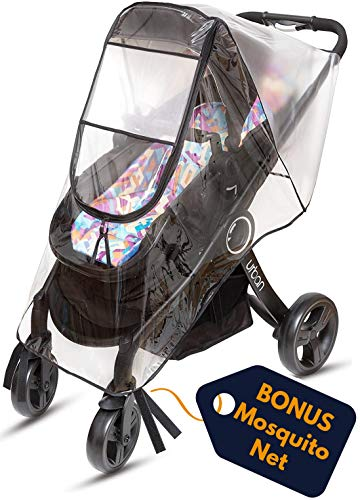 Ritmart Baby Stroller Rain Cover Universal + Mosquito Net (2-Piece Set), Waterproof, Windproof & Ventilation, Premium Travel Weather Shield Accessories