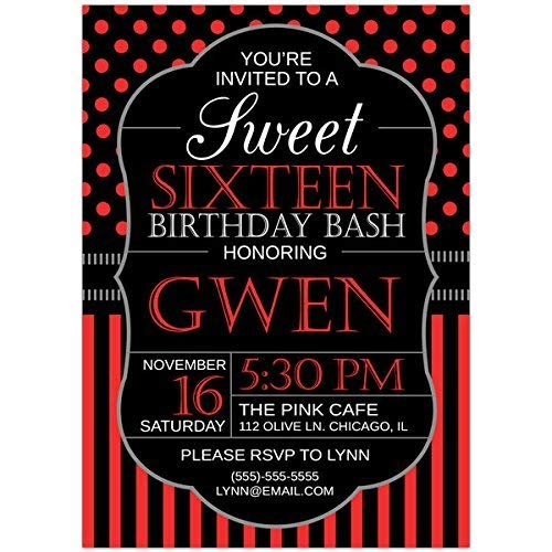 Amazon Com Black And Red Sweet Sixteen 16 Birthday Party