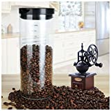Airtight Glass Storage Jar Coffee Bean Kitchen Food Container Tank with Food Grade PP Lid and Silicone Sealing Ring Hocking Round Glass Storage Canister for Home and Kitchen(1400ml/48oz)