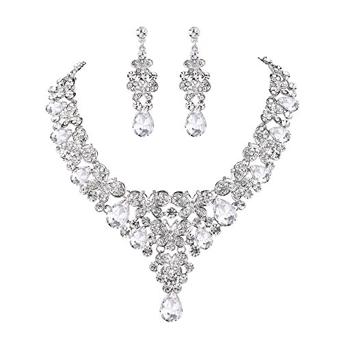 EVER FAITH Rhinestone Crystal Enamel Bridal Butterfly Teardrop Necklace Earrings Set Clear Silver-Tone