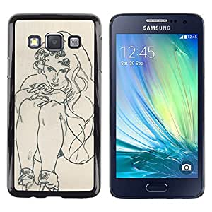 Be Good Phone Accessory // Dura Cáscara cubierta Protectora Caso Carcasa Funda de Protección para Samsung Galaxy A3 SM-A300 // artist drawing sketch painting woman