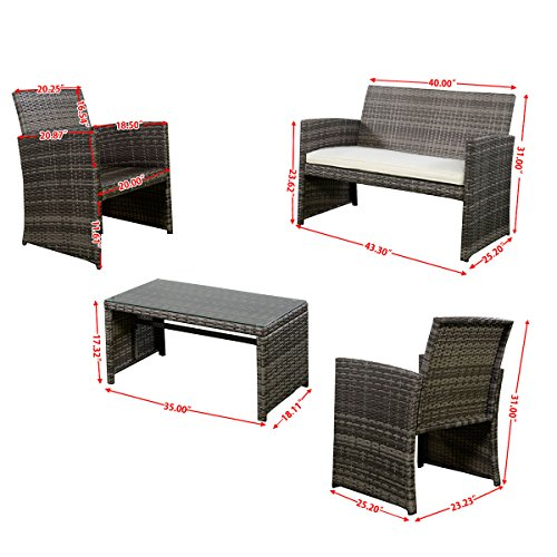 Goplus 4 pc rattan patio furniture set garden lawn sofa for Outdoor furniture jeddah