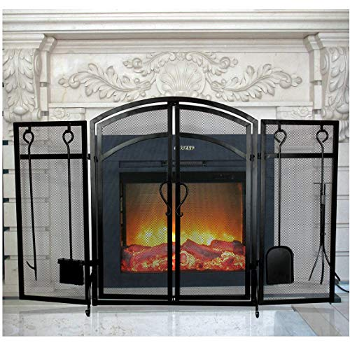 INNO STAGE 3-Panel Solid Fireplace Screen with 2 Doors and Fire Place Tools Sets - Extra Strength Wrought Iron Poker, Brush, Shovel and Firewood Tong Kit for Stove