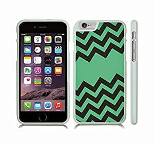 iStar Cases? iPhone 6 Plus Case with Chevron Pattern Brown/ Green Stripe , Snap-on Cover, Hard Carrying Case (White)