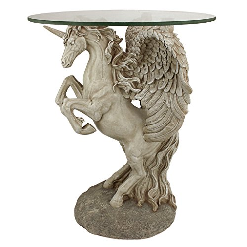 Design Toscano EU31323 Mystical Winged Unicorn Sculptural Glass-Topped Table, 16 Dia.x21 H, Full Color