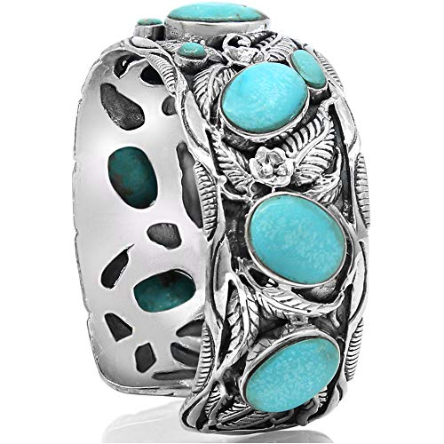 LEAVES CUFF Turquoise Handmade 925 Sterling Silver Wide Bracelet - Made in Thailand