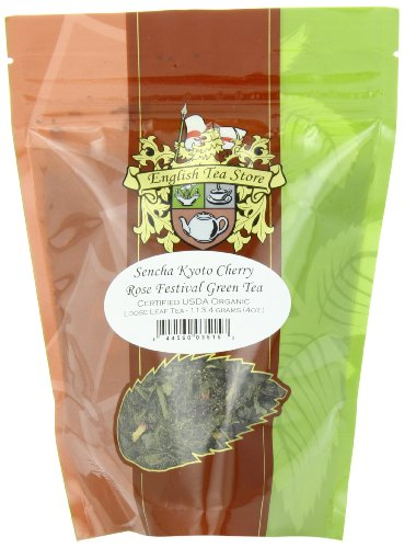 English Tea Store Loose Leaf, Organic Sencha Kyoto Cherry Rose Festival Green Tea Patches, 4 Ounce -