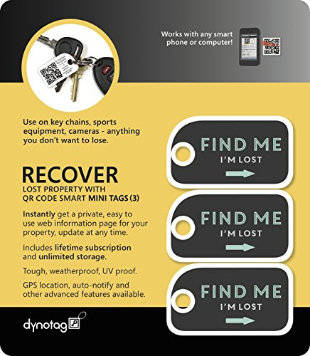 Dynotag Web Enabled Smart Mini Fashion ID Tags, with DynoIQ & Lifetime Recovery Service. 3 Identical Tags for Gear (Find Me!)