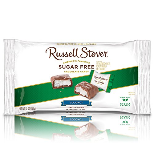 - Russell Stover Sugar-Free Laydown Bag Coconut 10 Ounce Russel Stover Sugar-Free Candy, Coconut Chocolate Candy Pack, Sweet Coconut Covered in Chocolate, Individually Wrapped and Sweetened with Stevia