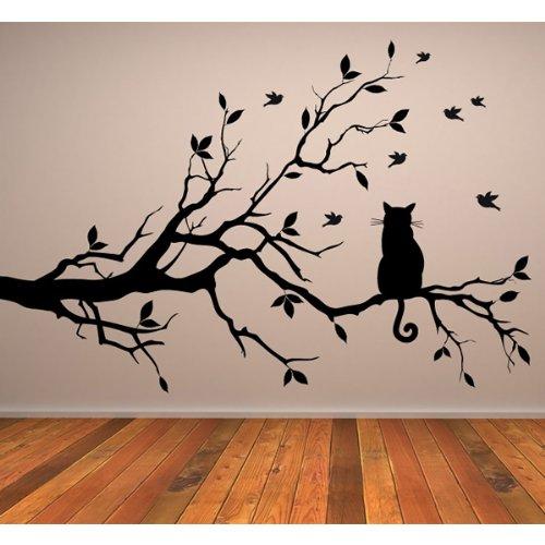 Katze auf Ast Wandaufkleber Wandtattoo Tier Kunst verfügbar in 5 Größen und 25 Farben Mittel Schwarz