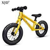XJD 12 Kids Balance Bike No Pedal Walking Bicycle Lightweight Aluminum Frame Adjustable Seat Air Tires for Boys or Girls Ages 2 to 6 Years Old