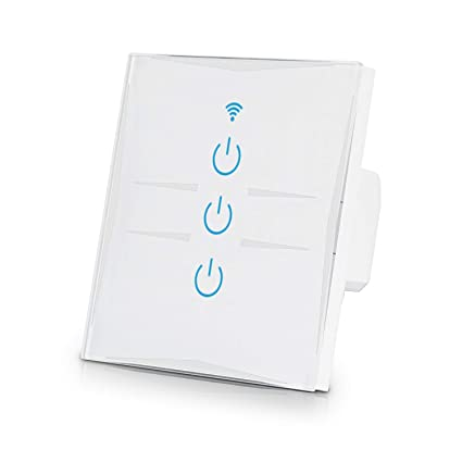 4d381d2893b3 Joso WiFi Smart Touch Light Switch, 3 Gang Outlet Voice Control with Amazon  Alexa Google
