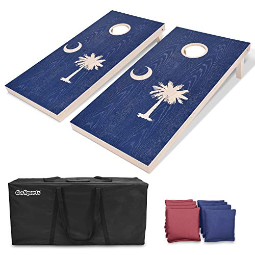 (GoSports South Carolina Regulation Size Solid Wood Cornhole Set - South Carolina Flag - Includes Two 4' x 2' Boards, 8 Bean Bags, Carrying Case & Game Rules )