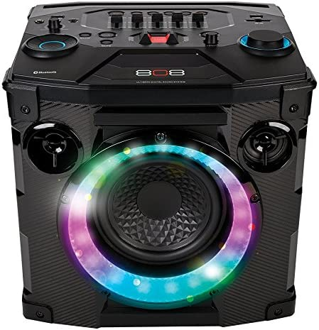 Bluetooth Wireless Speaker, Hex Encore Large Speaker with 2 Microphones Inputs, LED Lights and Huge Bass. Floorstanding or Bookshelf