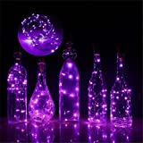 Iskylie 1M Christmas 10LED Bottle Romantic Lights Battery Powered Wine Bottle String Lights Ornament for Party (Regular, Purple)