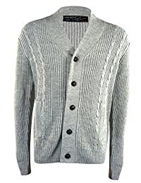 URBAN REVIVAL Mens Thick Cable Knit Shawl Sweater