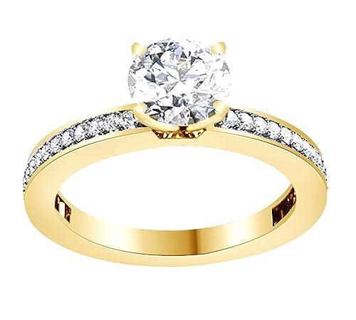 AFFY Anillo de boda de oro sólido de 14 quilates con circonita cúbica (0,86 quilates, 0,50 quilates) centro: Amazon.es: Joyería