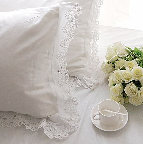 One Piece Shabby and Elegant White Cutwork Lace Cotton Matching Pillowcase 1116 (Standard 20