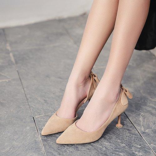 in con in donne 35 e 8 suggerimenti cm scarpe fine scarpe singoli Alta professionali raso nero tacco scarpe tacchi alti galateo beige ZaEOxAvq