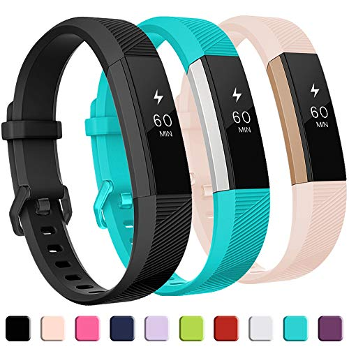 GEAK for Fitbit Alta HR Bands,Replacement Bands for Alta,3Pack,Black Teal Pink,Small Size Bands