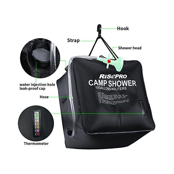 Risepro® XH07 Doccia solare, serbatoio a borsa da 40 litri, da campeggio, a riscaldamento solare con acqua a temperatura… 2 spesavip