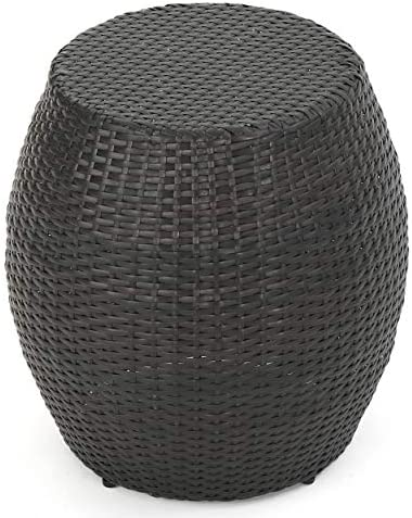 GDFStudio Channing Outdoor Wicker 14.00″ Barrell Side Table Multibrown