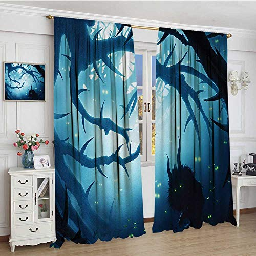 smallbeefly Mystic Fabric Window Curtain Animal with Burning