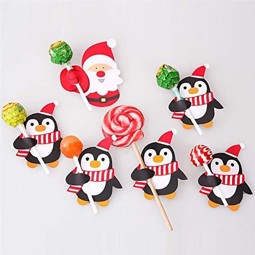 Pendant & Drop Ornaments 100Pcs Lollipop decorations Santa Claus Penguin Lollipop Christmas Card Lolly Sugar-Loaf Xmas Party Toy For Children Kids Gift