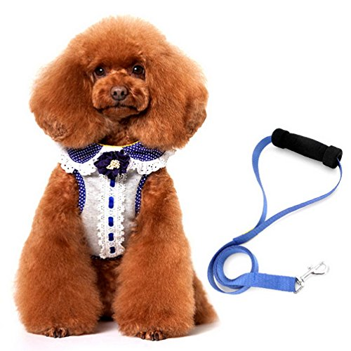 SELMAI Small Dog Cat Walking Vest Harness Leash Set Adjustable Sweety Ruffles No Pull Soft Mesh Padded Puppy Harness Stylish Gray XL