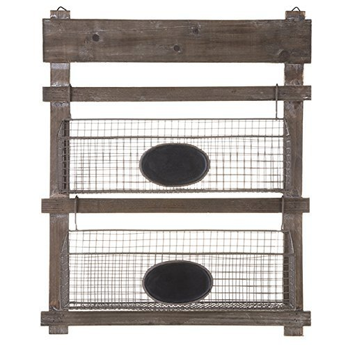 The Lucky Clover Trading Two Tiered Wooden Hanging Shelf with Wire Planter Baskets